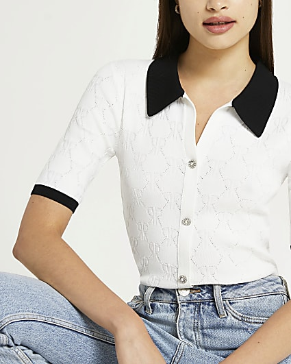 White RI branded button up polo shirt