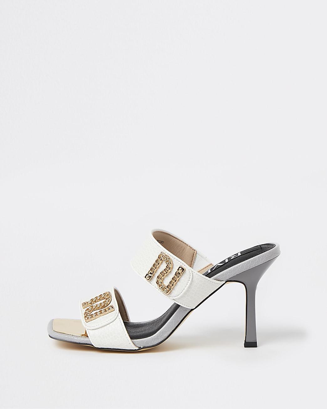 White RI branded heeled mules