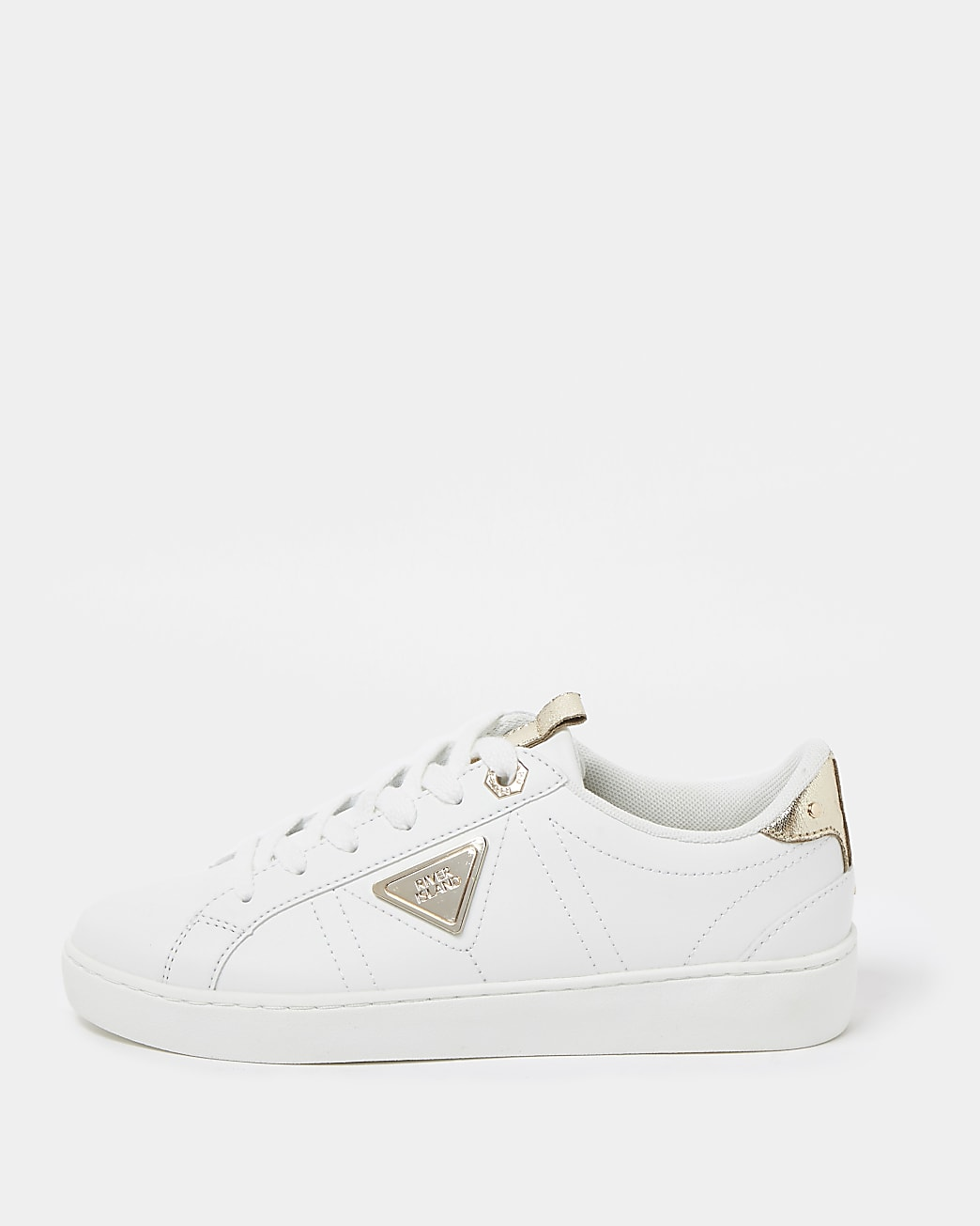 White RI branded lace up trainers
