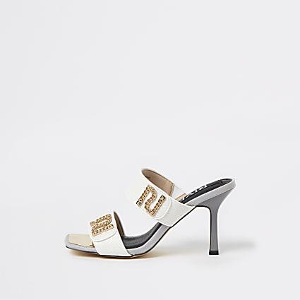 White RI branded mule heeled sandals