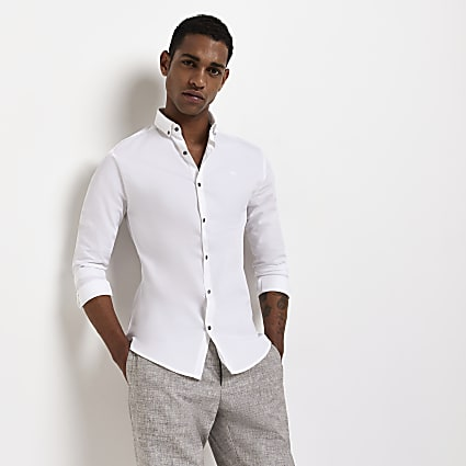 White RI branded muscle fit long sleeve shirt