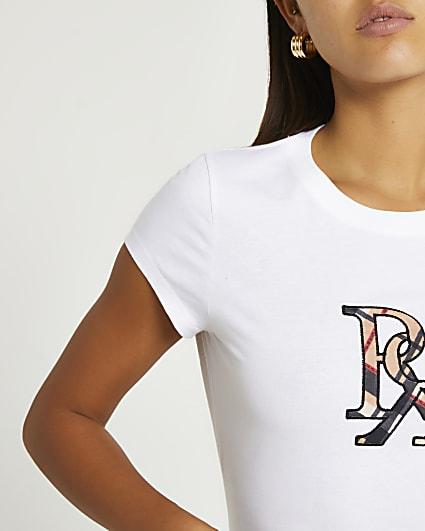 White RI branded shrunken t-shirt