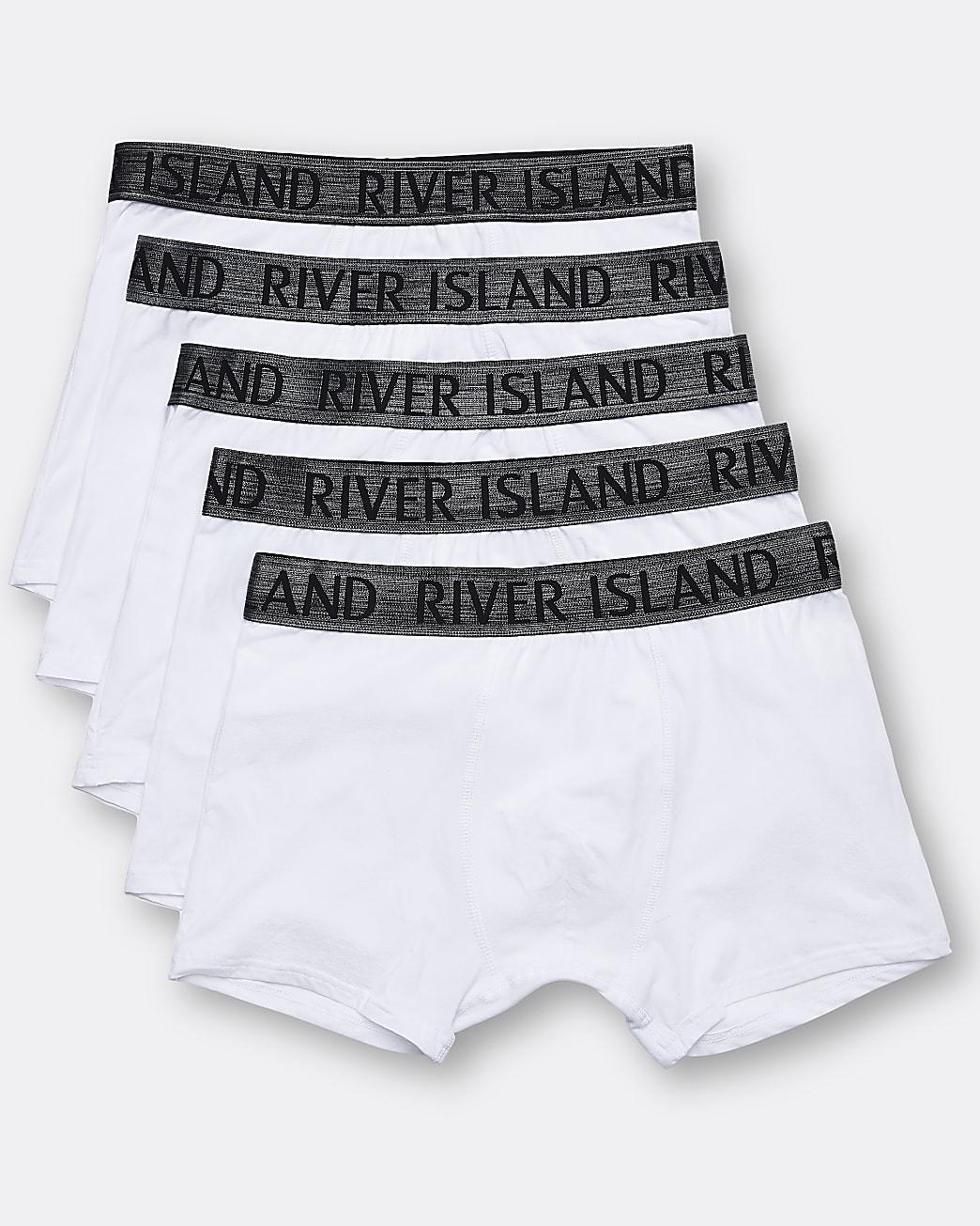 White RI branded trunks 5 pack