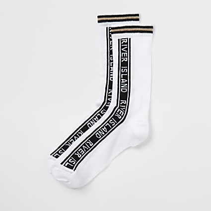 White RI branded tube socks
