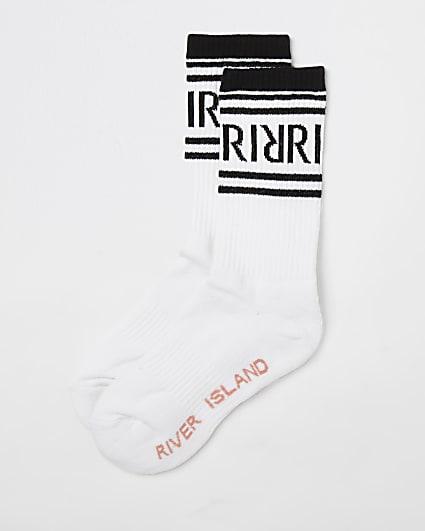 White RI branded tube socks