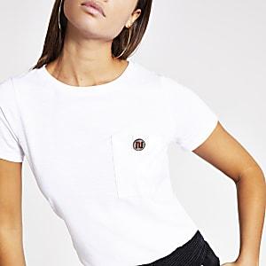 T-shirt à manches courtes avec bouton RI en strass blanc