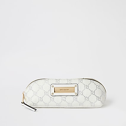 White RI diamante denim make-up brush bag