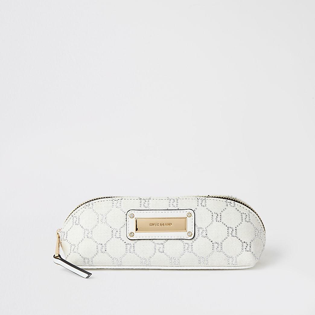 White RI diamante denim make-up brush bag