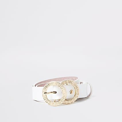 White RI double ring buckle belt