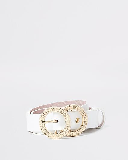 White RI double ring buckle belt