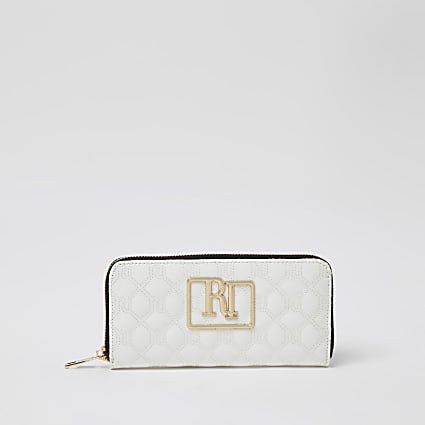 White RI embellished diamond stitch purse