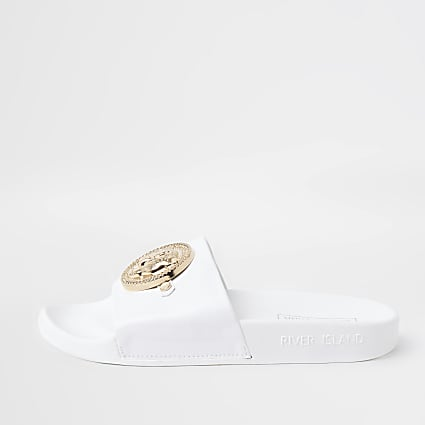 White RI embossed charm front sliders
