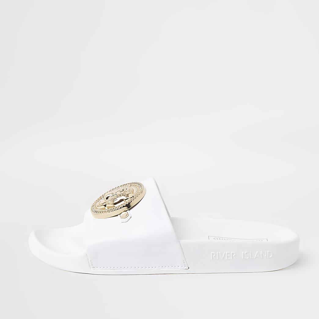 White RI embossed charm front sliders