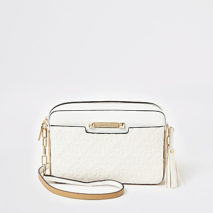 White RI embossed cross body boxy handbag