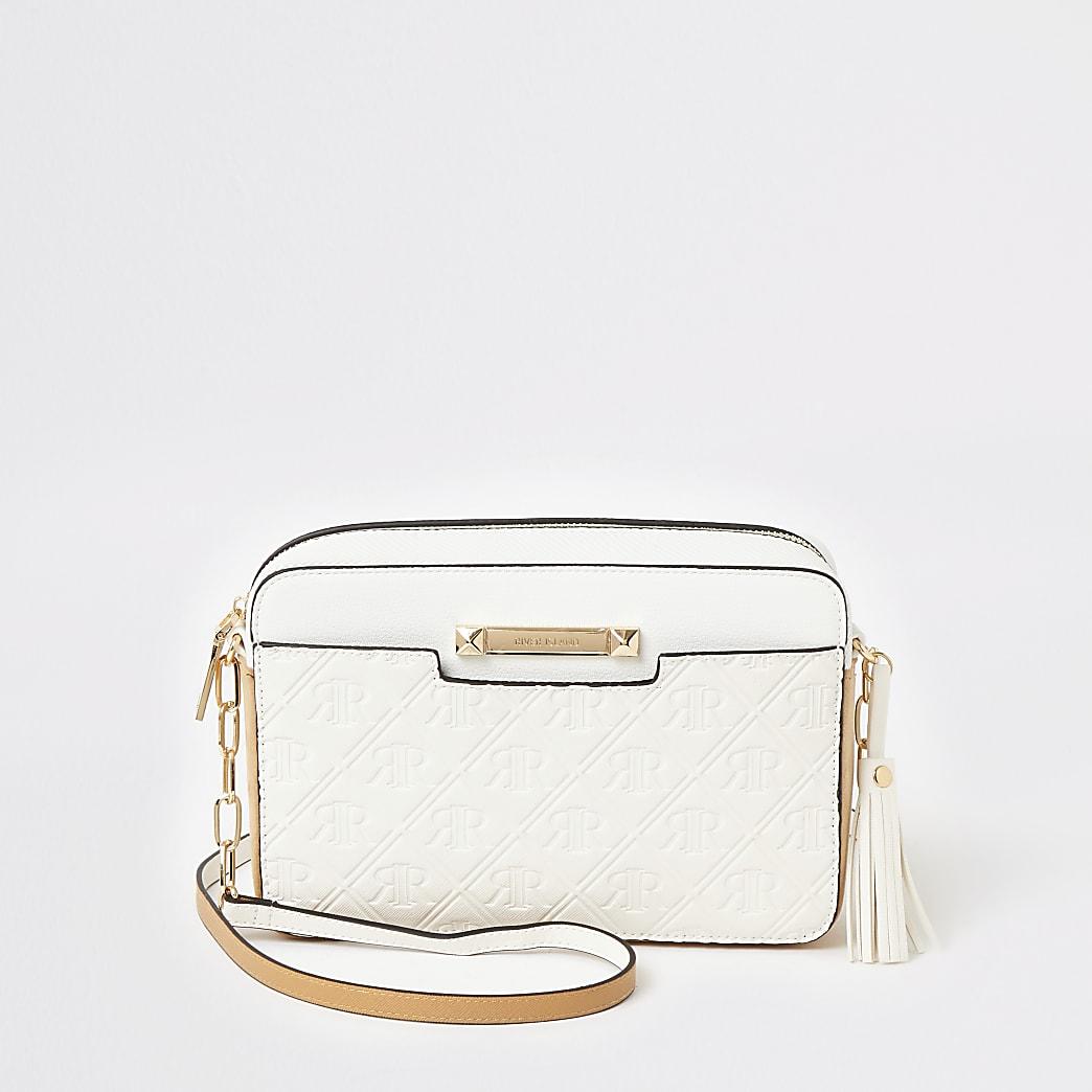 White RI embossed cross body boxy handbag