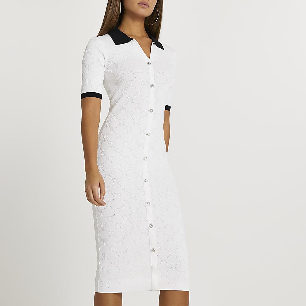White RI embossed knit midi dress