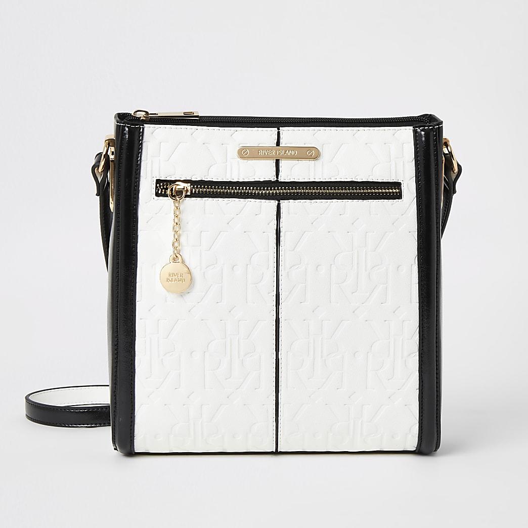 White RI embossed messenger cross body bag