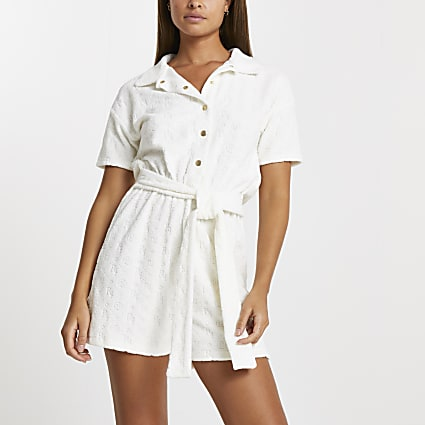 White RI embossed playsuit