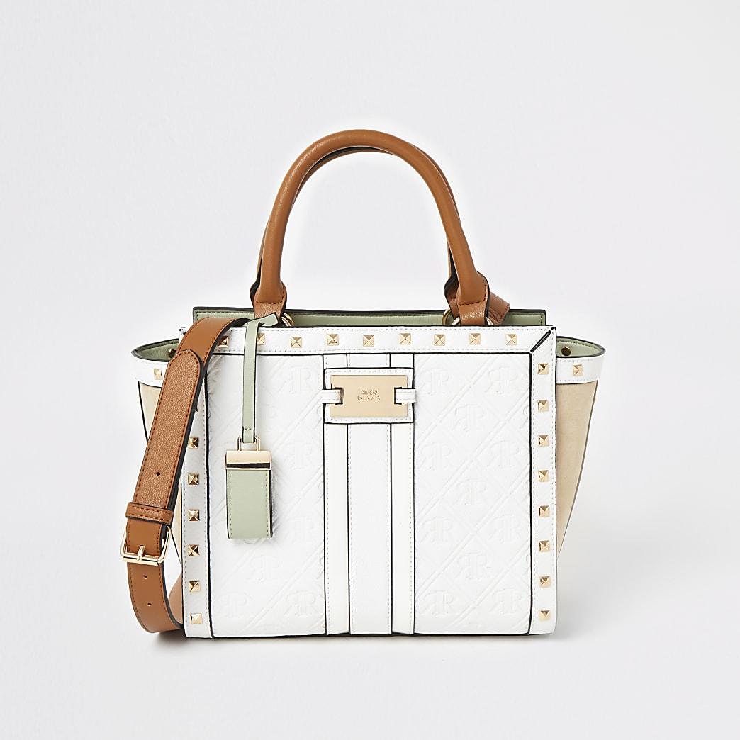 White RI embossed studded tote bag