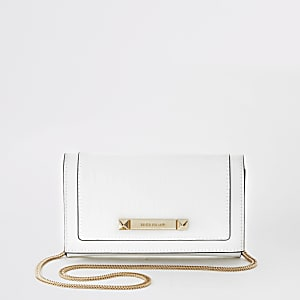 White RI embossed underarm clutch bag