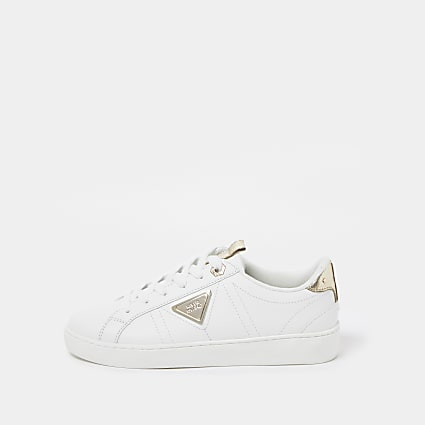 White RI gold lace up trainers