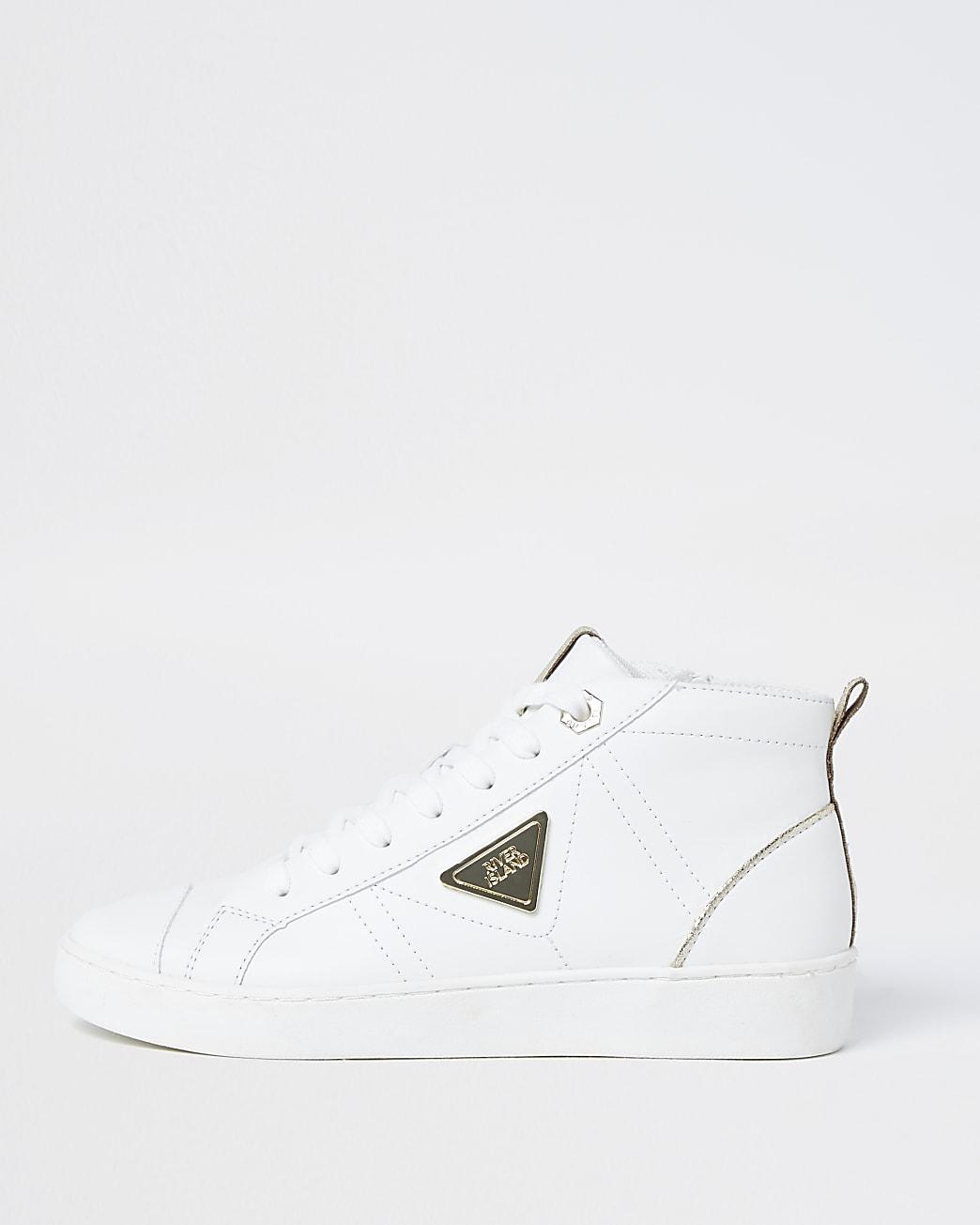 White RI high top trainers