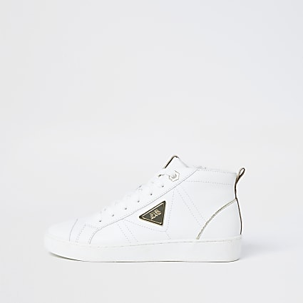 White RI high top trainers