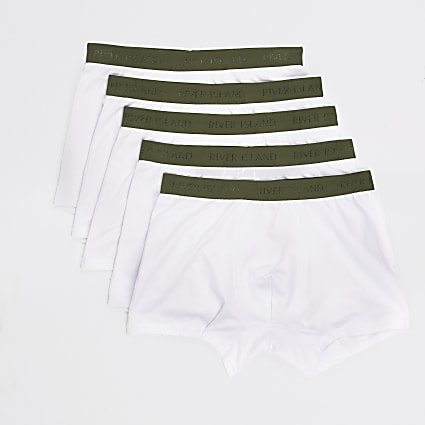 White RI khaki waistband trunks 5 pack