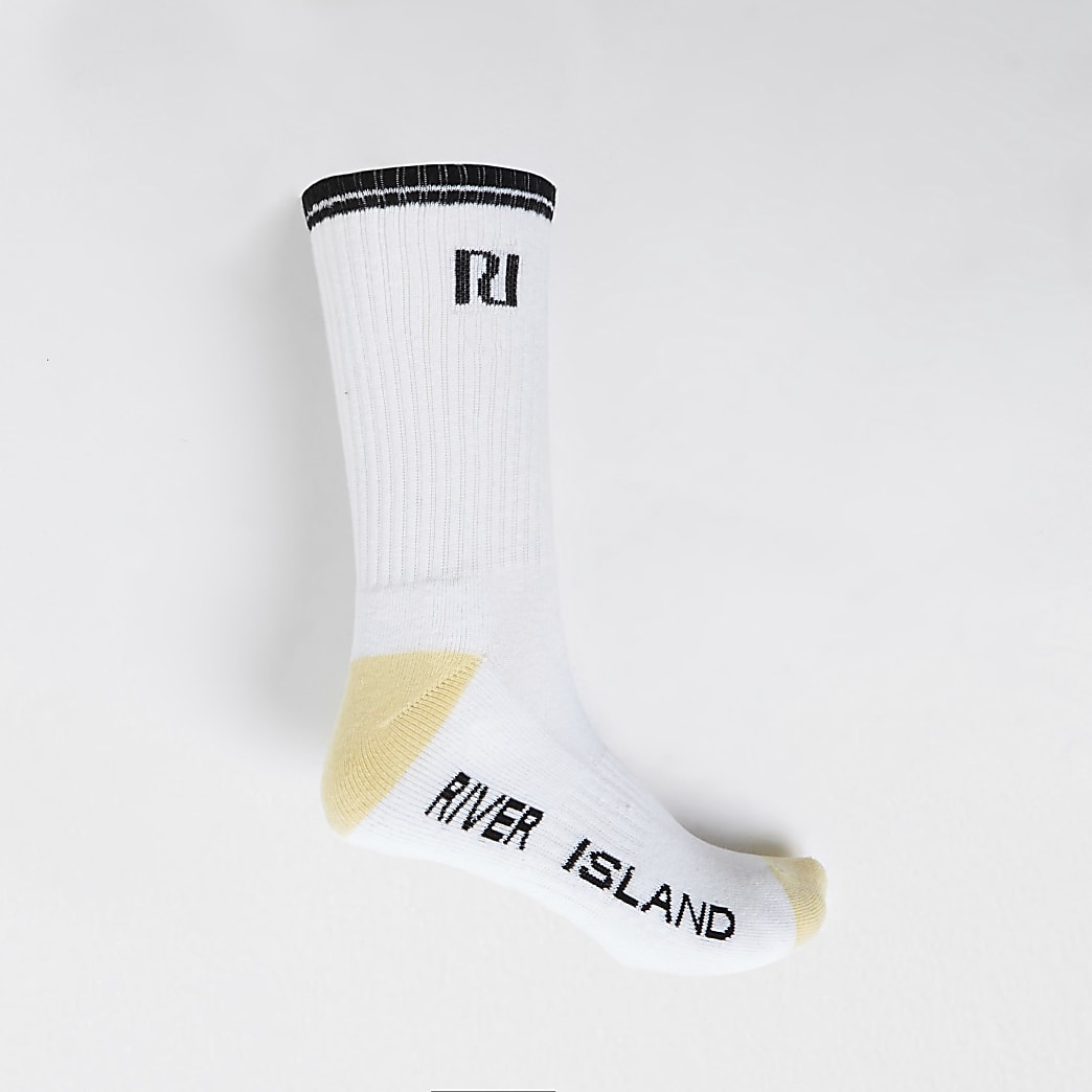 White RI logo tube sports sock