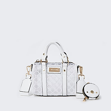 White RI mesh mini bowler crossbody bag