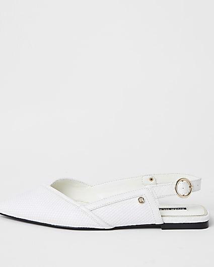 White RI mesh sling back sandals