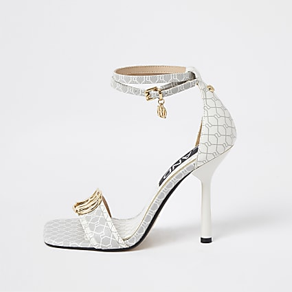 White RI monogram barely sandals