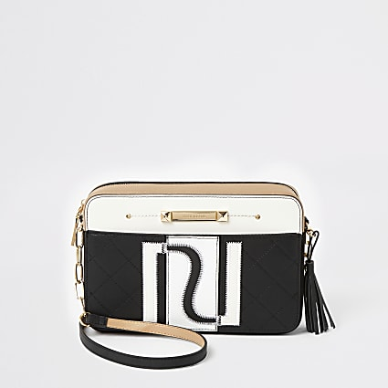 White RI monogram boxy cross body bag