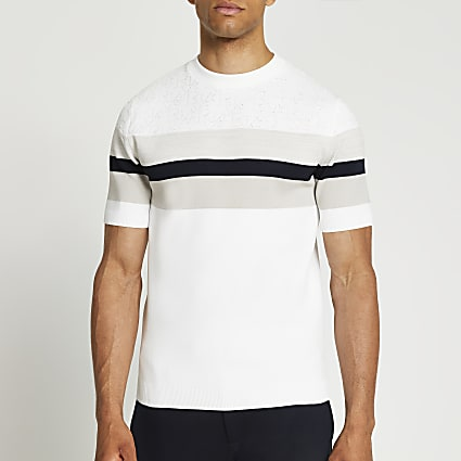 White RI monogram colour block t-shirt