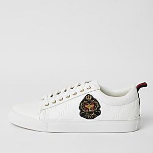 White RI monogram embroidered trainers
