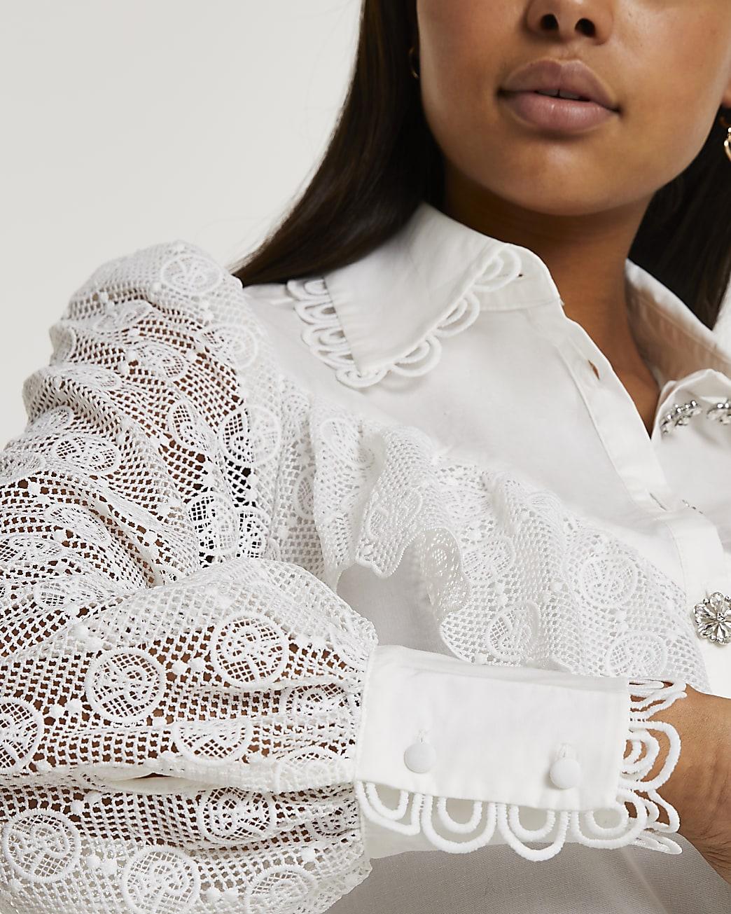 White RI monogram frill detail shirt