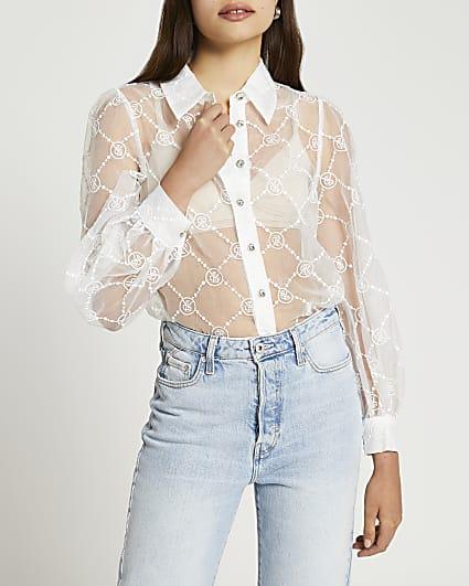 White RI monogram organza shirt
