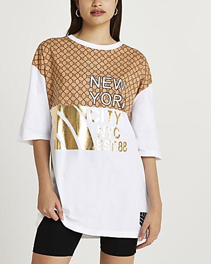 White RI monogram oversized t-shirt