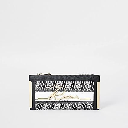 White RI monogram print purse