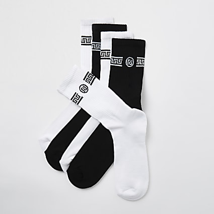 White RI monogram print socks 5 pack