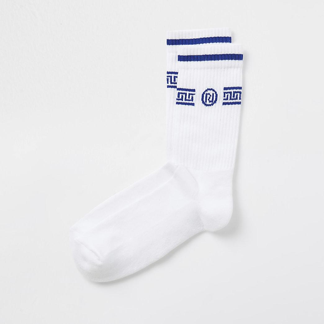 White RI monogram print socks