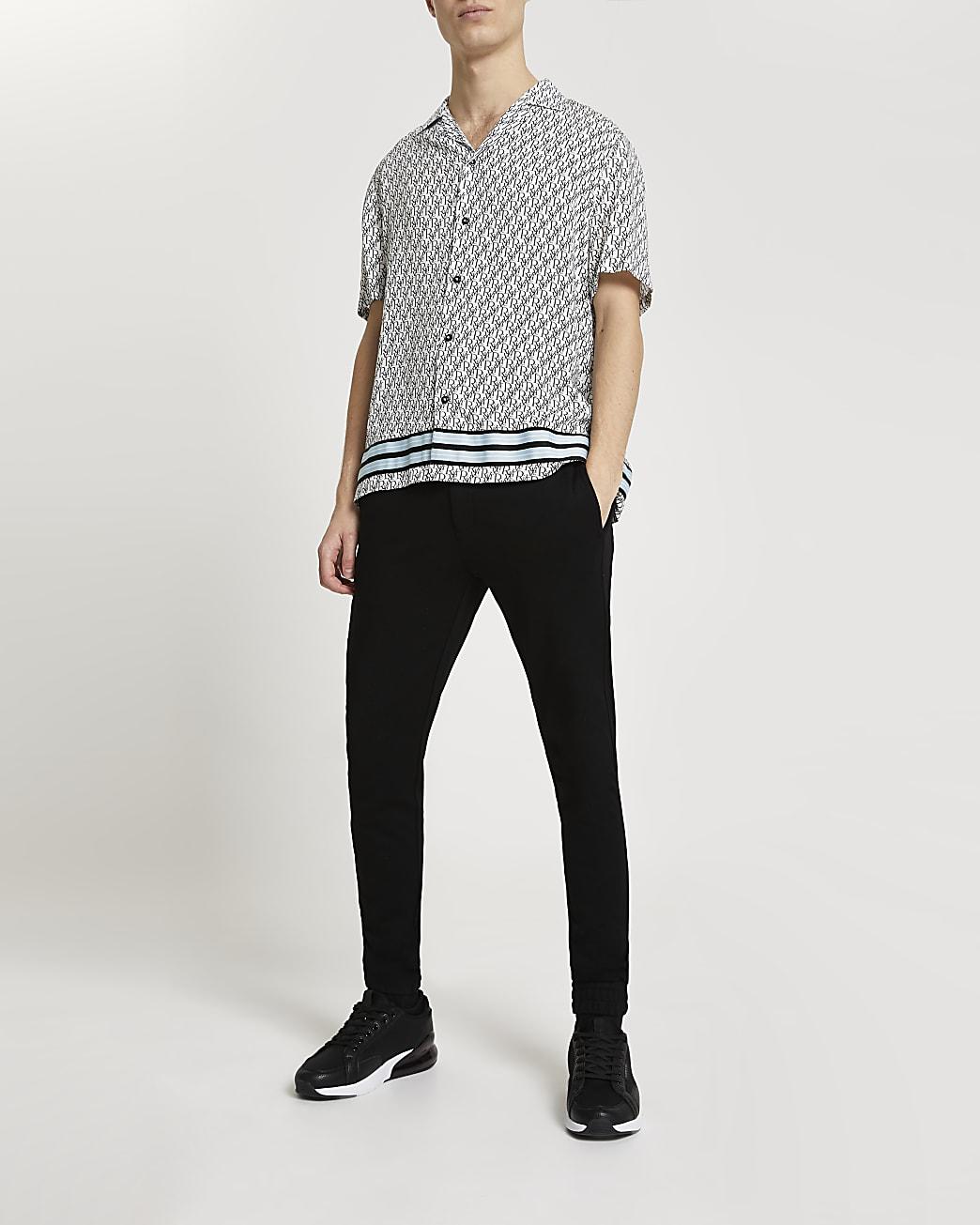White RI monogram short sleeve revere shirt