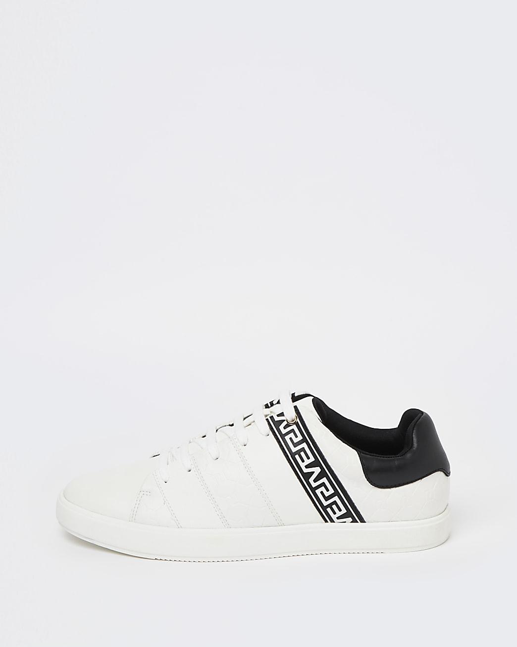 White RI monogram stripe lace up trainers