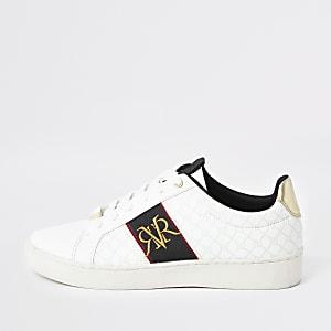 Witte sneaker met streep en monogram