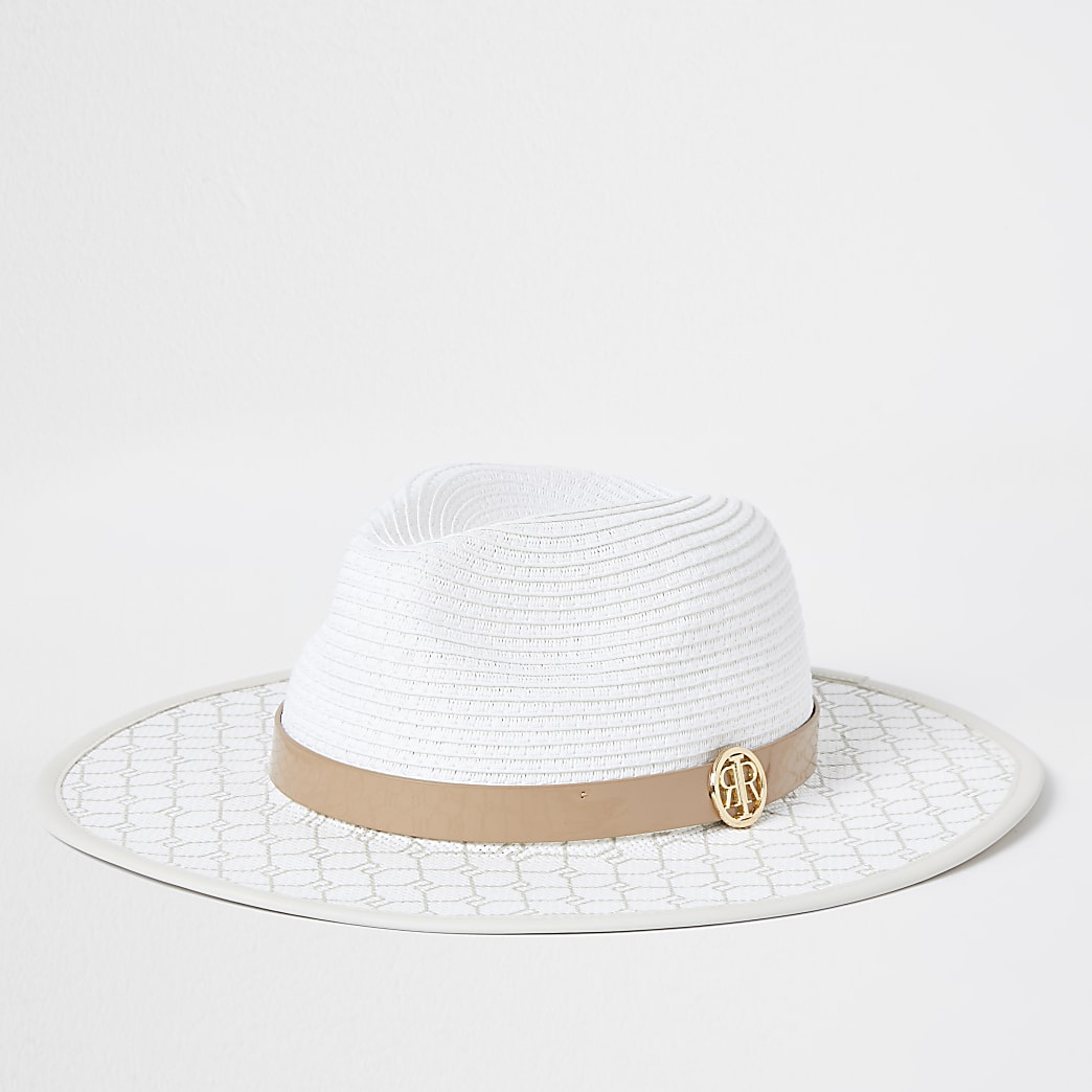 White RI monogram structured straw hat
