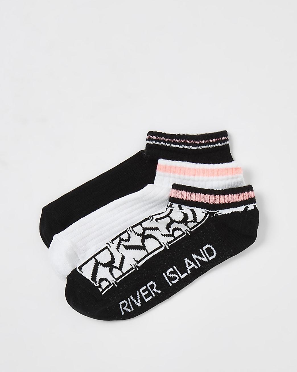 White RI monogram trainer socks multipack