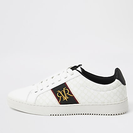 White RI monogram trainers