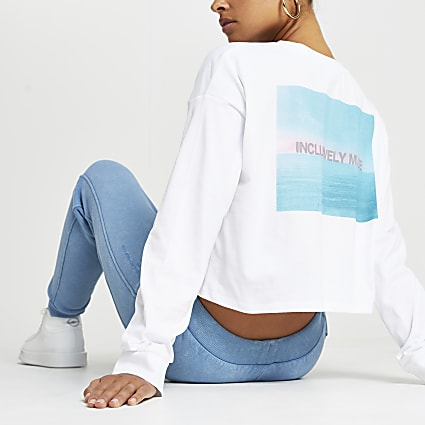 White RI ONE back print long sleeve t-shirt
