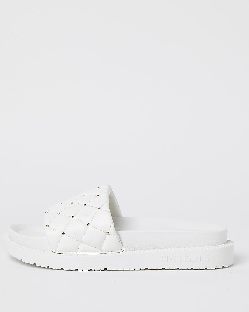 White RI padded chunky quilted sliders