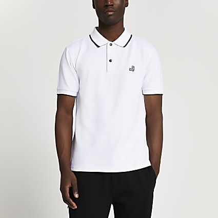 White RI pique slim fit polo shirt